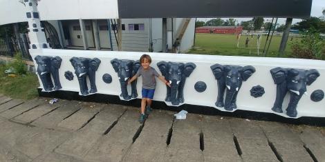 Simon avec ses éléphants