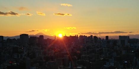 Et exceptionnel coucher de soleil avec le mont Fuji