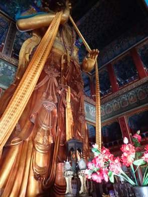 Le Bouddha Maitreya haut de 18 M et sculpté d'un seul bloc dans un tronc de santal.