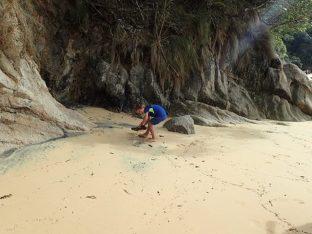 Pause sur une plage et Simon toujours son côté artiste ramasse le bois flotté...