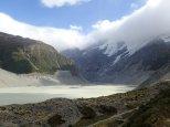Départ pour le Tasman Glacier, le plus grd de NZ mais qui perd plusieurs centaines de mètres ts les ans.