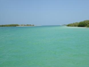 Une eau turquoise et au loin le golf du Mexique.